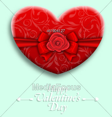 Illustration Celebration Background With Wishes For Valentines Day With Gift Box In Heart Shaped - Vector Stock Photo