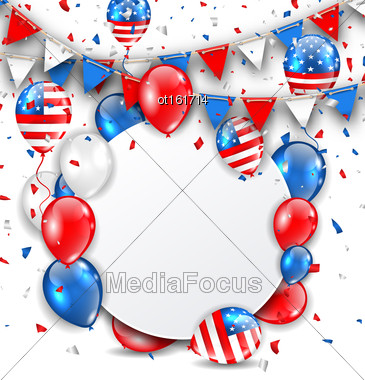 Illustration Celebration Card For American Holidays, Colorful Bunting, Balloons And Confetti. Space For Your Text - Vector Stock Photo