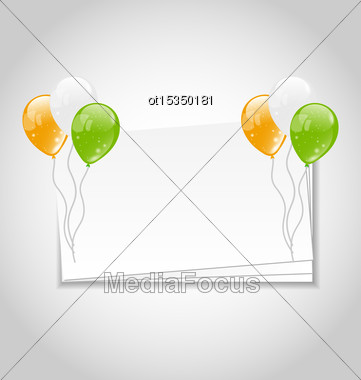 Illustration Celebration Card With Balloons In National Colors Of Flag For Independence Day Of India - Vector Stock Photo