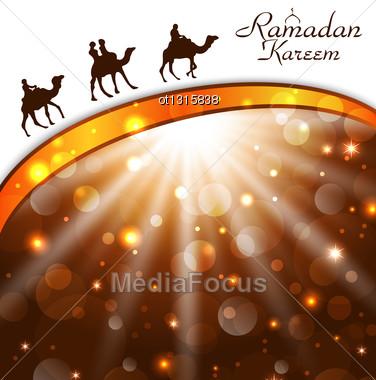 Illustration Celebration Card With Camels For Ramadan Kareem - Vector Stock Photo
