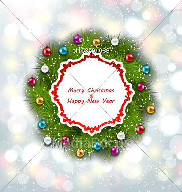 Illustration Celebration Card With Christmas Wreath And Balls, New Year Decoration On Magic Background - Vector Stock Photo