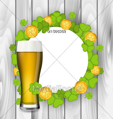 Illustration Celebration Card With Glass Of Light Beer, Shamrocks And Golden Coins For St. Patrick's Day, Wooden Background - Vector Stock Photo
