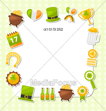 Illustration Celebration Card With Traditional Symbols For St. Patricks Day, Collection Colorful Icons In Flat Style - Vector Stock Photo