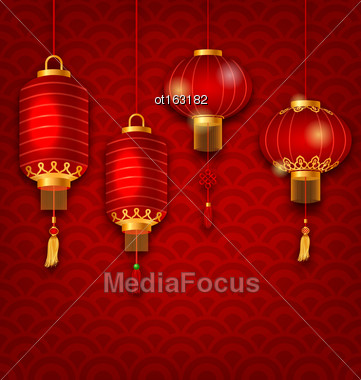 Illustration Chinese Background With Lanterns, Seigaiha Texture - Vector Stock Photo