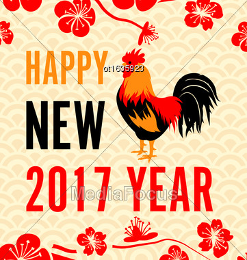 Illustration Chinese New Year Background With Roosters, Blossom Sakura Flowers - Vector Stock Photo