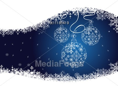 Christmas Background With Balls Made Of Snowflakes Stock Photo