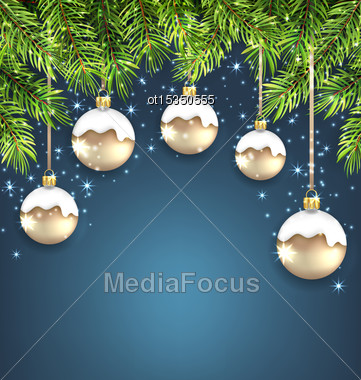 Illustration Christmas Background With Fir Twigs And Glass Balls, Holiday Wallpaper - Vector Stock Photo