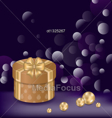 Illustration Christmas Background With Gift Box And Pearls - Vector Stock Photo