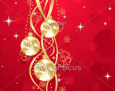 Christmas Background With Set Balls Stock Photo