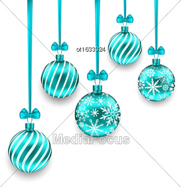 Illustration Christmas Background With Turquoise Glassy Balls Isolated On White Background - Vector Stock Photo