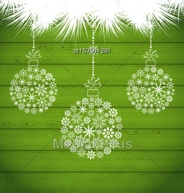 Illustration Christmas Balls Made In Snowflakes On Green Wooden Texture - Vector Stock Photo