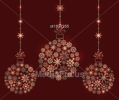 Illustration Christmas Balls Made Of Snowflakes For Winter Holidays - Vector Stock Photo