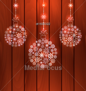 Illustration Christmas Balls Made Of Snowflakes, Wooden Background - Vector Stock Photo