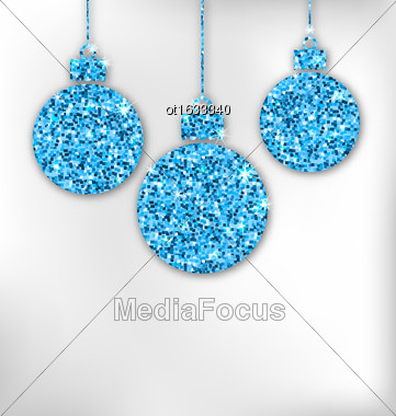 Illustration Christmas Balls With Sparkle Surface For Celebration Card - Vector Stock Photo