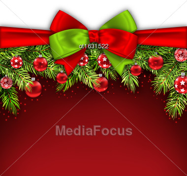 Illustration Christmas Banner With Bow Ribbon, Fir Twigs, Glass Balls, Copy Space For Your Text - Vector Stock Photo