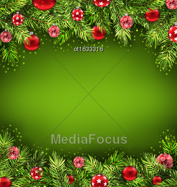 Illustration Christmas Banner With Fir Sprigs And Glass Balls, Holiday Green Background - Vector Stock Photo