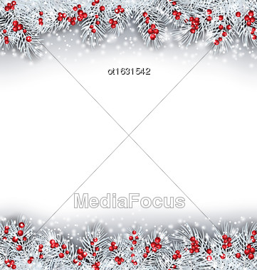 Illustration Christmas Banner With Silver Fir Twigs, Copy Space For Your Text - Vector Stock Photo