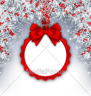 Illustration Christmas Banner With Silver Fir Twigs And Card With Red Silk Ribbon And Bow, Copy Space For Your Text - Vector Stock Photo