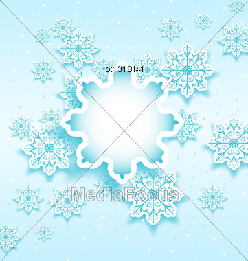 Illustration Christmas Bubble With Set Snowflakes - Vector Stock Photo