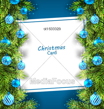 Illustration Christmas Card With Fir Twigs And Glass Balls, Holiday Blue Background - Vector Stock Photo