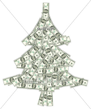 Illustration Christmas Concept - Pine Made Of Banknotes Of Dollars, Spruce Isolated On White Background - Vector Stock Photo