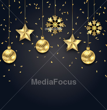 Illustration Christmas Dark Background With Golden Balls, Stars And Snowflakes - Vector Stock Photo