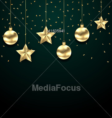 Illustration Christmas Dark Background With Golden Baubles, Greeting Banner - Vector Stock Photo