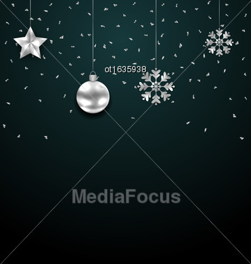 Illustration Christmas Dark Background With Silver Balls, Stars And Snowflakes. Confetti Banner - Vector Stock Photo