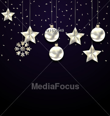 Illustration Christmas Dark Background With Silver Balls, Stars And Snowflakes - Vector Stock Photo