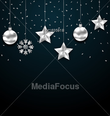 Illustration Christmas Dark Background With Silver Baubles, Greeting Luxury Banner - Vector Stock Photo