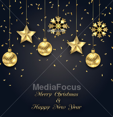 Illustration Christmas Dark Background With Baubles Stock Photo