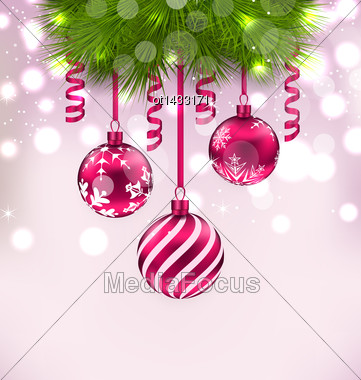 Illustration Christmas Fir Branches And Glass Balls, Copy Space For Your Text - Vector Stock Photo