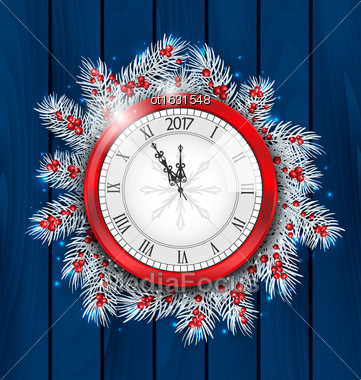 Illustration Christmas Fir Twigs With Clock For 2017 New Year, Decoration On Blue Wooden Background - Vector Stock Photo