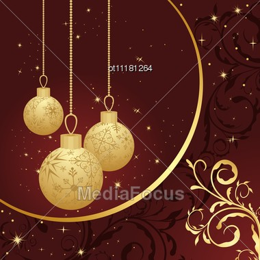 Christmas Floral Card With Gold Balls Stock Photo