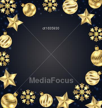 Illustration Christmas Frame Of Golden Balls, Stars, Snowflakes. Glitter Background - Vector Stock Photo