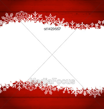 Illustration Christmas Frame Made Of Snowflakes With Copy Space For Your Text - Vector Stock Photo