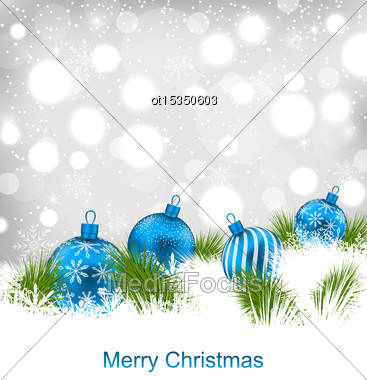 Illustration Christmas Glassy Balls, Shimmering Light Postcard - Vector Stock Photo