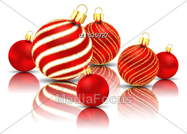 Illustration Christmas Glitter Balls With Reflection On White Background - Vector Stock Photo