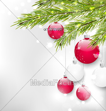 Illustration Christmas Glitter Card With Fir Branches And Glass Balls, - Vector Stock Photo
