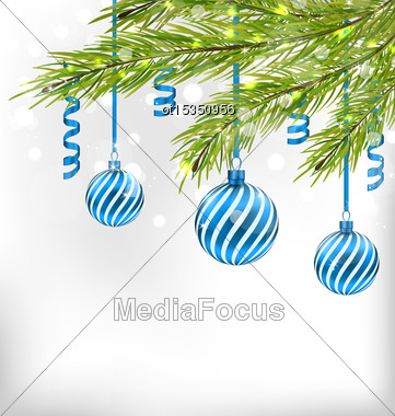 Illustration Christmas Glitter Card With Fir Branches And Glass Balls, Streamer - Vector Stock Photo