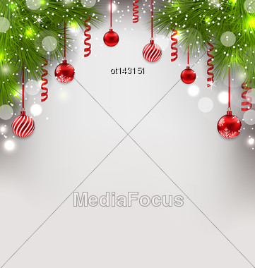 Illustration Christmas Glowing Background With Fir Branches, Glass Balls, Streamer - Vector Stock Photo
