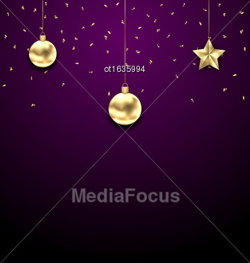 Illustration Christmas Golden Balls, Copy Space For Your Text - Vector Stock Photo