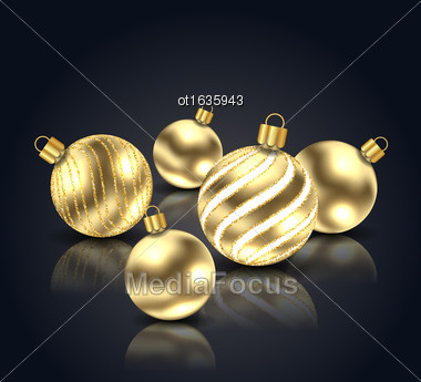 Illustration Christmas Golden Balls With Reflection On Black Background With Copy Space For Your Text - Vector Stock Photo