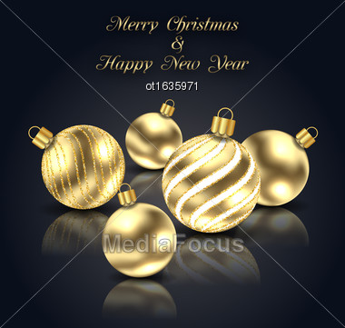 Illustration Christmas Golden Balls With Reflection On Black Background - Vector Stock Photo