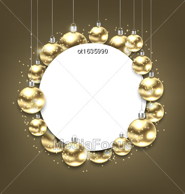Illustration Christmas Golden Glowing Balls With Clean Card - Vector Stock Photo