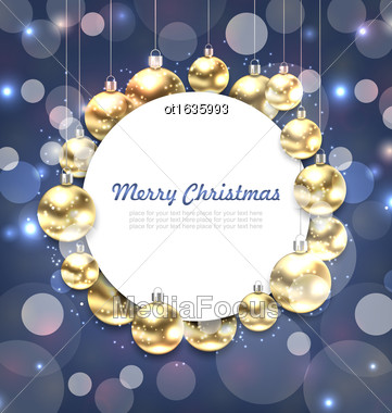 Illustration Christmas Golden Glowing Balls With Greeting Card - Vector Stock Photo