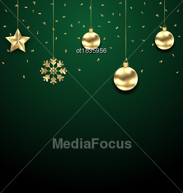 Illustration Christmas Golden Hanging Balls On Dark Green Background - Vector Stock Photo