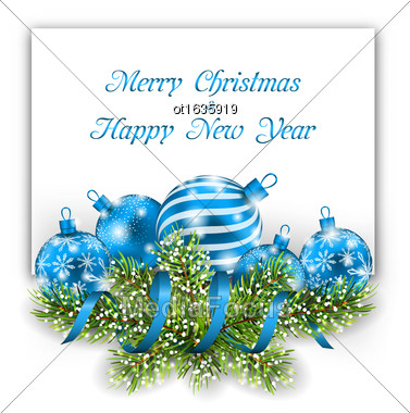 Illustration Christmas And Happy New Year Card With Blue Balls On White Background - Vector Stock Photo
