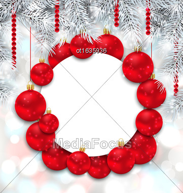 Illustration Christmas And Happy New Year Card With Red Balls On Shimmering Background - Vector Stock Photo
