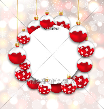 Illustration Christmas And Happy New Year Card With Red Snowing Balls On Glowing Background - Vector Stock Photo